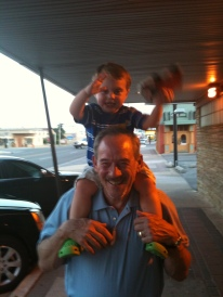 With grandson Conner: Giddyup Paw Paw!!!