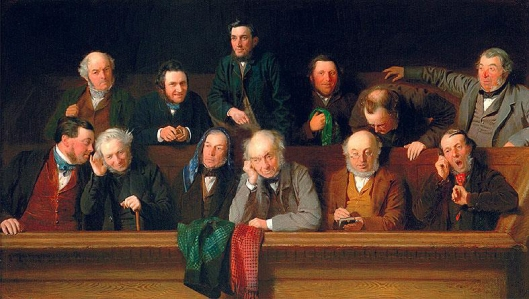 """The Jury,"" an 1861 John Morgan painting of an English jury."